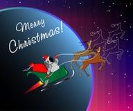 Santa dans l'espace Photographie stock libre de droits