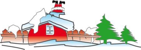 Santa dans la cheminée de maison Photos libres de droits