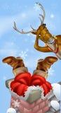 Santa dans la cheminée et le renne Photographie stock
