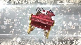 Santa dans le traîneau avec le renne avec des flocons de neige illustration de vecteur
