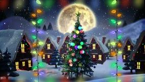 Santa dans le traîneau avec le vol de renne et flèche signent au-dessus du pays des merveilles et de la lune d'hiver banque de vidéos