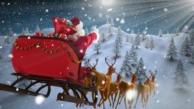 Santa dans le traîneau avec le vol de renne avec la forêt d'hiver illustration stock