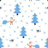 Santa dans le vecteur sans couture de modèle de forêt Image stock