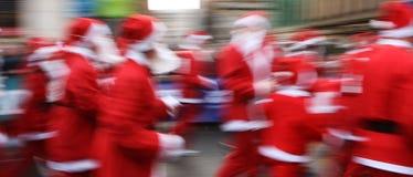 Santa Dash. A festive santa charity dash in Glasgow, Scotland stock images