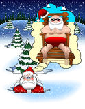 Santa_daydream.jpg. Cartoon graphic depicting Santa Claus daydreaming while stuck in the snow Royalty Free Stock Photography