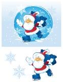 Santa de patinagem Ilustração Stock