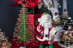 Santa Decor And Christmas Tree Stock Fotografie