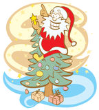 Santa decorating Christmas Tree. Funny vector illustration in retro style. Without gradients royalty free illustration