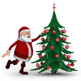 Santa decorating Christmas Tree Stock Photo