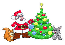 Santa decorating Christmas tree 3 Stock Photography