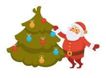 Santa decorating Christmas tree New Year decorations cartoon character vector icon Royalty Free Stock Image