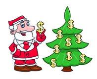 Santa decorating tree with dollars 2 Stock Photos