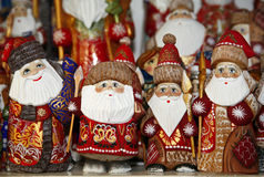 Santa decorations selling during christmas market Royalty Free Stock Image
