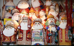 Santa decorations selling during christmas market Stock Images
