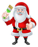 Santa Decorator. A Christmas cartoon illustration of Santa Claus holding a paintbrush and giving a thumbs up Royalty Free Stock Photos