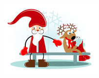 Santa with deer. On bench Royalty Free Stock Images