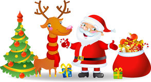 Santa and Deer stock illustration