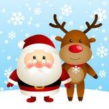 Santa with deer Stock Photos