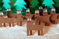 Santa deer in forest Royalty Free Stock Photo