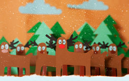 Santa deer in forest Royalty Free Stock Image