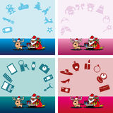 Santa and deer with a gift for everyone Royalty Free Stock Photography
