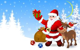 Santa and deer with gifts for Christmas royalty free illustration