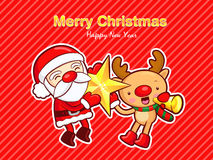Santa and deer mascot active events. Christmas Card Design Serie Royalty Free Stock Photo