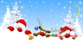 Santa, deer and piglet on Christmas night vector illustration