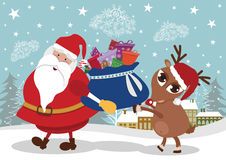 Santa and deer with presents Stock Photo