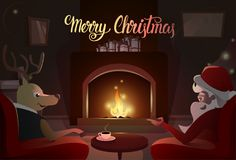 Santa And Deer Sitting Near Fireplace, Merry Christmas And Happy New Year. Winter Holiday Concept Banner Flat Vector Illustration Stock Photography