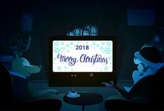 Santa And Deer Sitting Together, Joyeux Noël et vacances d'hiver de bonne année Photographie stock