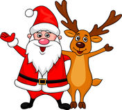 Santa and deer waving Royalty Free Stock Images