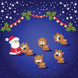 Santa and deers Stock Images