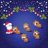 Santa and deers Stock Images