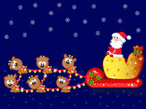 Santa-and-deers-a-team. Santa sits on sleigh. Beside it big bag with gifts. The Team of Christmas deers Royalty Free Stock Images