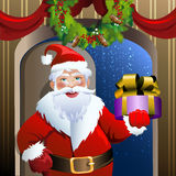 Santa delivery service. Illustration with smiling Santa Claus who comes into the house with a Christmas gift drawn in cartoon style stock illustration