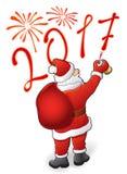 Santa dessine 2017 et feux d'artifice illustration stock