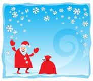 Santa di risata con i fiocchi di neve Immagine Stock Libera da Diritti