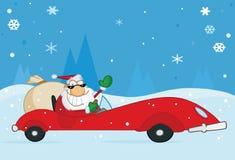 Santa die van Kerstmis van zijn rode sportwagen golft Stock Foto