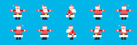 Santa in different directions vector set Stock Photo