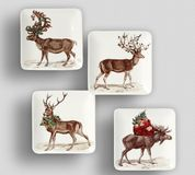 Santa Dinner Plate - plat moderne simple de couleur avec le fond blanc photos stock