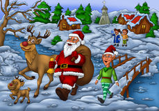 Santa Distributing Gift with Elf and his Rudolph Stock Photo