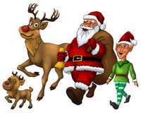 Santa Distributing Gift with Elf and Rudolph Stock Photos
