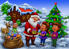 Santa distributing gifts to kids Royalty Free Stock Images