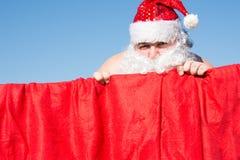 Santa divertente Affari quotidiani Preparando per la festa Fotografie Stock Libere da Diritti