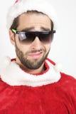 Santa divertente con gli occhiali da sole Fotografie Stock Libere da Diritti