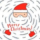 Santa divertente con una barba bianca enorme illustrazione vettoriale