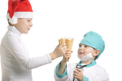 Santa and doctor Royalty Free Stock Photography
