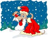 Santa dog. A dog in santa clothing stock illustration