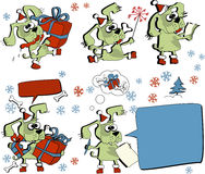 Santa dog. Illustration of Christmas dog with presents Stock Image